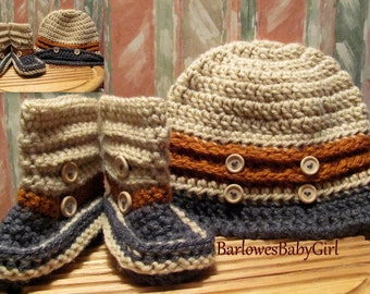 Buggs - Crochet Boy's Button Up Bucket Hat and Coordinating Short Boots Wood Button Accent