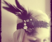 1920s black flapper headband races NO.43