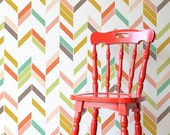 Fun Colorful Modern Herringbone Wall Stencil - Paint Your Own Wallpaper Look for Nursery Decor, Kids Room, Bedroom Wall Mural