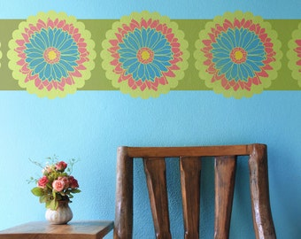 Small Daisy Flower Stencil - Colorful Painted Wall Art Floral Designs for DIY Girls Room Decor