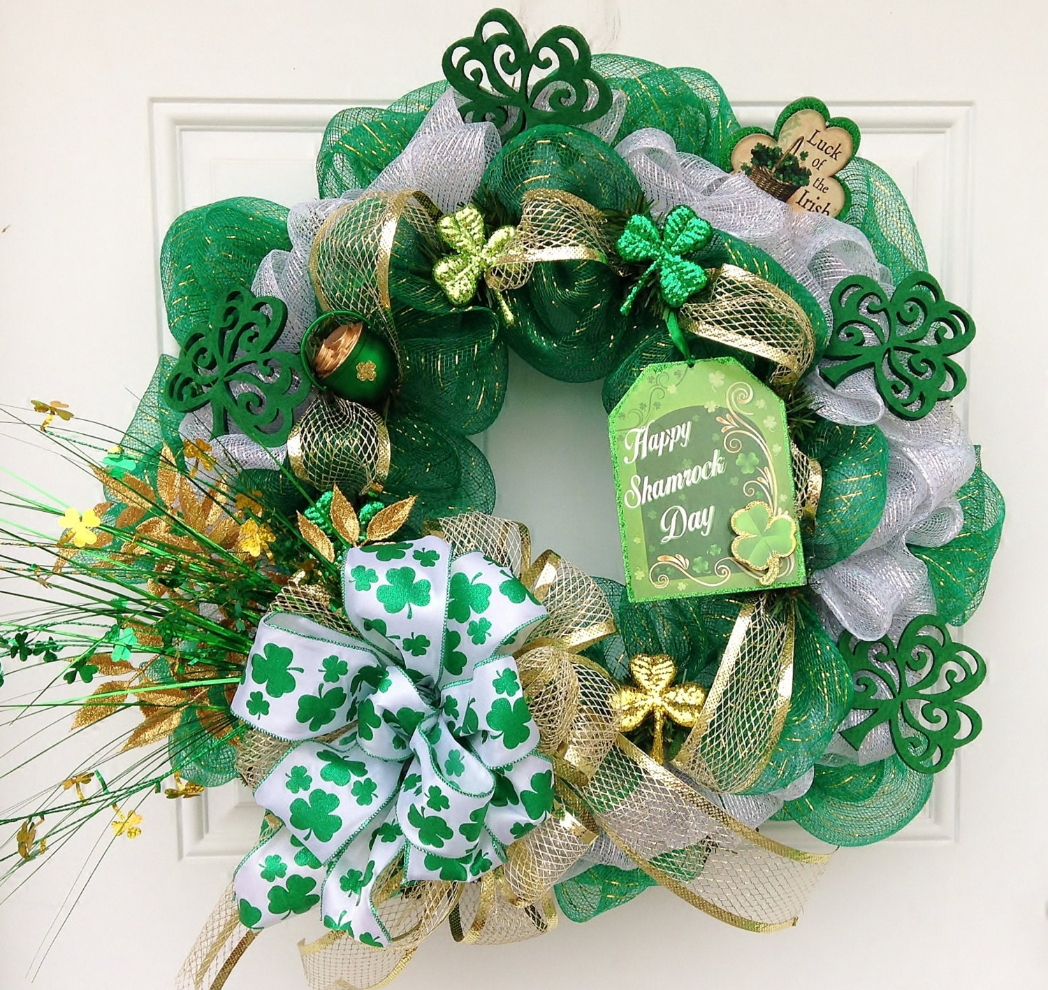 st patricks day deco mesh wreath. Black Bedroom Furniture Sets. Home Design Ideas