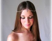 Blue Moon Goddess -  Head piece - Head dress - Hair Jewelry - Egyptian Princess - Bollywood - Silver Chain with swarovski crystal charm