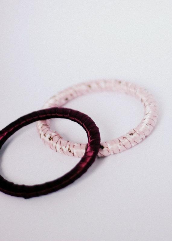 Burgundy and Pink Floral Ribbon Bangle Bracelet Set