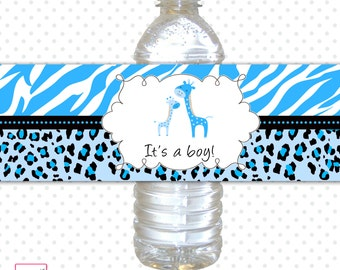 INSTANT DOWNLOAD Printable Zebra Baby Shower Bottle Labels Blue Leopard It's A Boy Cute Giraffe Water Bottle Wrappers - Jungle Safari Wraps