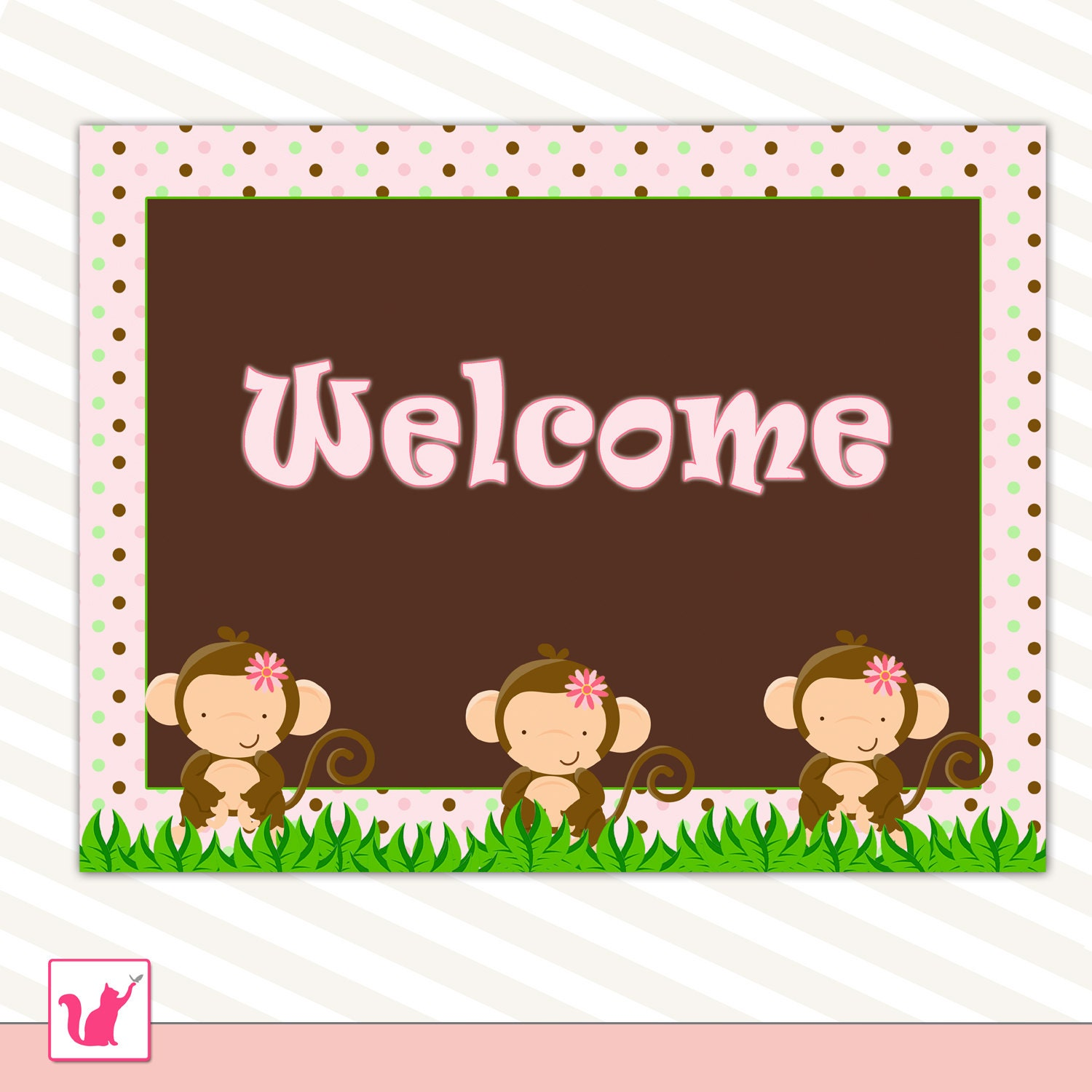 party welcome sign jungle monkey pink polka dots birthday or. Black Bedroom Furniture Sets. Home Design Ideas