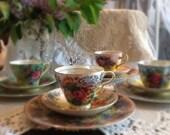 Handpainted Vintage Rose Luncheon/Dessert Or Tea Set