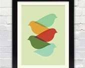 Mid Century Modern Bird Art Print  //  Free Shipping // Gifts Under 25 //