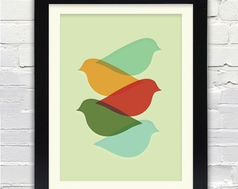 Mid Century Modern Bird Art Print  //  Free Shipping // Gifts Under 25 //