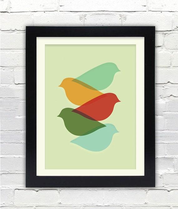 Mid Century Modern Bird Art Print Free Shipping Gifts