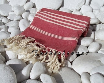 Hand wowen SOFT Turkish Cotton Bath,Beach,Pool,Spa,Yoga,Travel Towel or Sarong-Natural Cream Stripes on Red