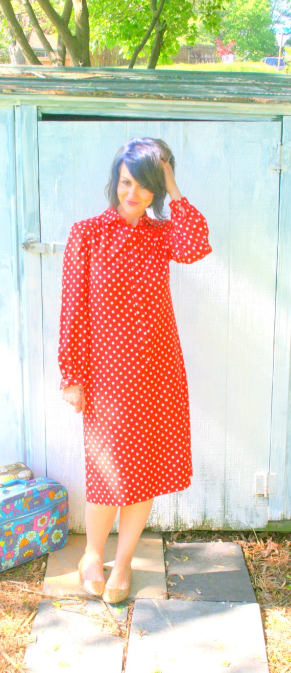 70s RED POLKA DOTS Dress.....size medium to large.....mod. dots. red. white. retro. schrader sport. classic
