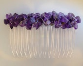 Amethyst Nugget Adorned Hair Comb 70mm     CO1910