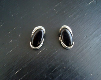 Black Czech Glass and Silvertone Clip On Earrings