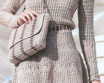 Hand Crocheted Long Sleeve Dress With Scooped Neck - Made to Order