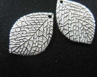 2 of 925 Sterling Silver Leaf Charms 13.5x19.5mm. :th1455