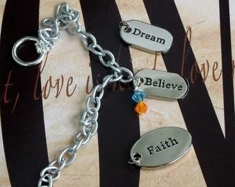 Faith - Dream - Believe - Selective Mutism Awareness Bracelet