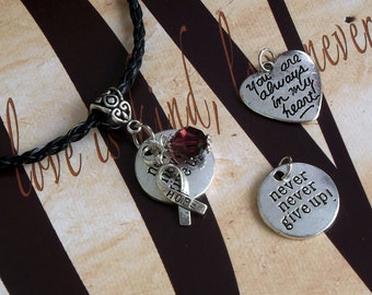 Sickle Cell Anemia, APS, Multiple Myeloma Awareness 'Never Never Give Up' or 'You Are Always In My Heart' Charm Pendant