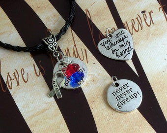 Pulmonary Fibrosis, Noonan's Syndrome Awareness 'Never Never Give Up' or 'You Are Always In My Heart' Charm Pendant