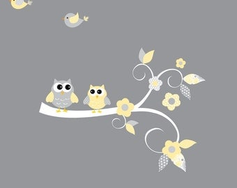 Decals Stickers Vinyl Wall Decal Tree Branch Owls-e57