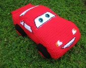 """Crochet pattern toy-pillow car McQueen from """"Cars"""" movie."""