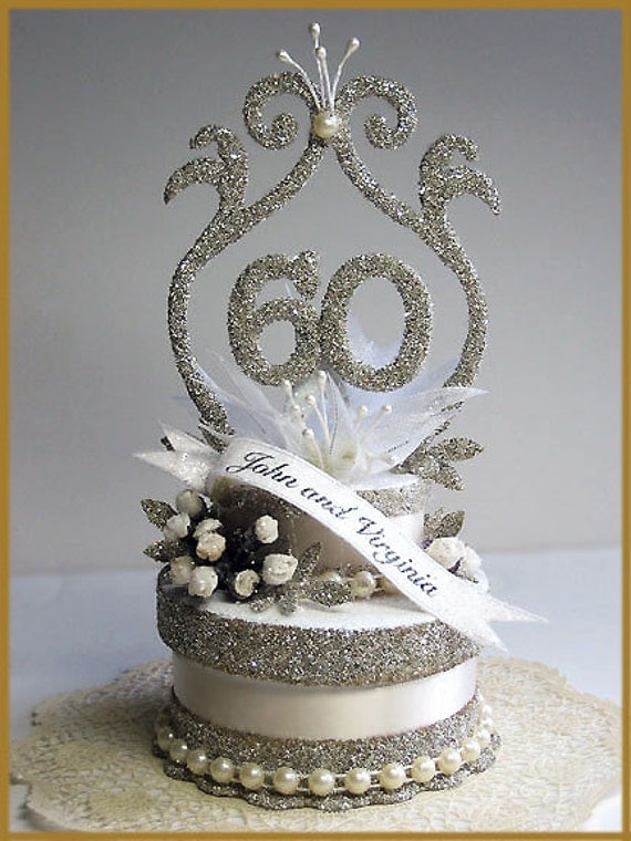 60th wedding anniversary cake toppers 60th wedding anniversary cake topper by patriciaminishdesign 1172