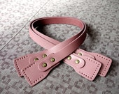 Pink  Real Leather Bag Strap Bag Handle Punch Hole Ready Length 24 inch