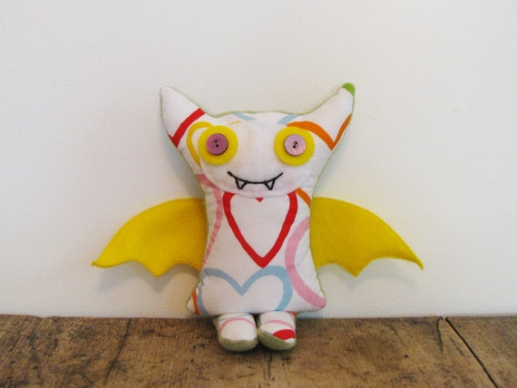 Stuffed Plush Fabric Monster Toy, Addison The Happy Monster
