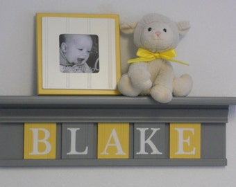 Yellow and Gray Nursery Wall Name Art - Yellow Baby Boy Nursery Decor - Personalized Grey Wood Shelf with Wooden Wall Letters