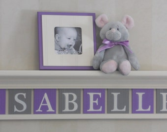 Baby Girl Name Sign Nursery Decor White / Off White Shelf - Letter Wooden Tiles Painted Purple and Gray - Personalized Name Sign