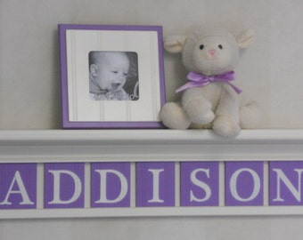 Unique Baby Gifts - Custom Gift - Purple Baby Girl Nursery Decor White or Off White Shelf with Wood Letter Lilac Baby Name Signs