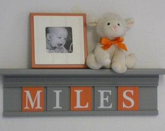 "Orange and Gray Nursery Wood Shelf / Sign Personalized for MILES - 24"" Grey Shelf - 5 Wooden Letters - Boy Nursery Decor"