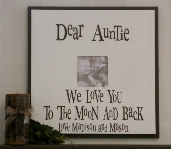 Aunt and Uncle Gift Picture Frame, Customized Auntie Wood Photo Frames, Signs Personalized with Name in Chocolate Brown Photo Frame