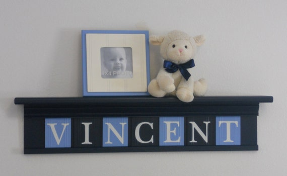 navy blue nursery baby wall decor custom name on navy blue. Black Bedroom Furniture Sets. Home Design Ideas