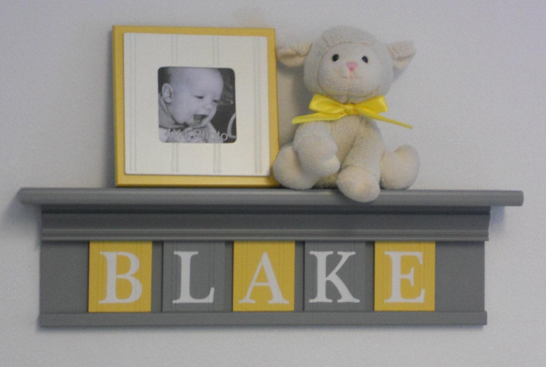 Yellow And Gray Nursery Wall Name Art Yellow Baby Boy