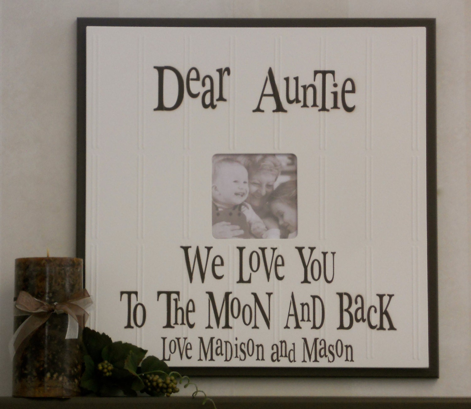 aunt and uncle gift picture frame customized auntie wood photo frames signs personalized with name in chocolate brown photo frame