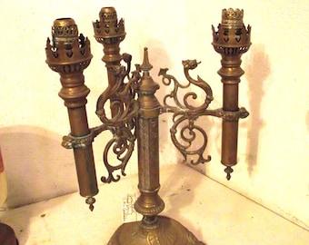 Antique Brass Dragon Candelabra