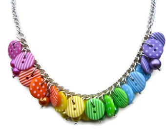 Bright Rainbow Button necklace, spots, stripes