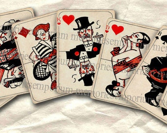 Art Deco Playing Cards ATC ACEO Card Games Twenties 20s 1920s Digital Collage Sheet Instant Download