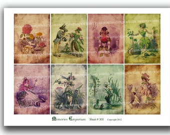 Antique Flower Fairies Les Fleurs Animees French Shabby Chic ATC ACEO Decoupage Journaling Printable Digital Collage Sheet Download 300