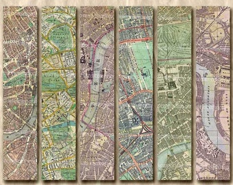 Old London Street Maps Bookmarks Parks River Tag Backgrounds Shabby Chic Book Marks Printable Digital Collage Sheet 220