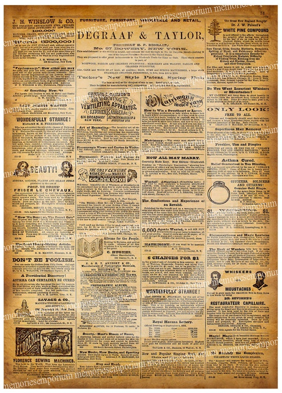 items similar to antique newspaper page old ads united