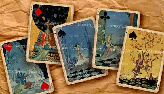 Exotic Art Deco Playing Cards Eastern Oriental Chinese Royal Twenties Deck Decoupage DIY ATC ACEO Printable Digital Collage Sheet 340