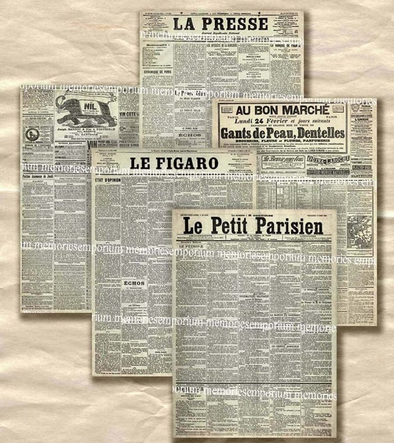 Old French Newspapers Decoupage Newsprint Shabby Chic Grunge ACEO ATC size Paris France French Background Digital Collage Sheet Download 199