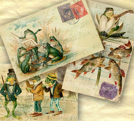 Frog Postcards Old Decoupage Backgrounds for Scrapbooking Digital Collage Sheet DIY Printable Instant Download 054