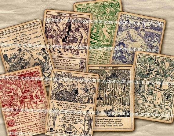 Antique Nursery Rhymes Children Picture Book Storybook Card Old Vintage Baa Baa Black Sheep Little Boy Blue Digital Collage Sheet 317