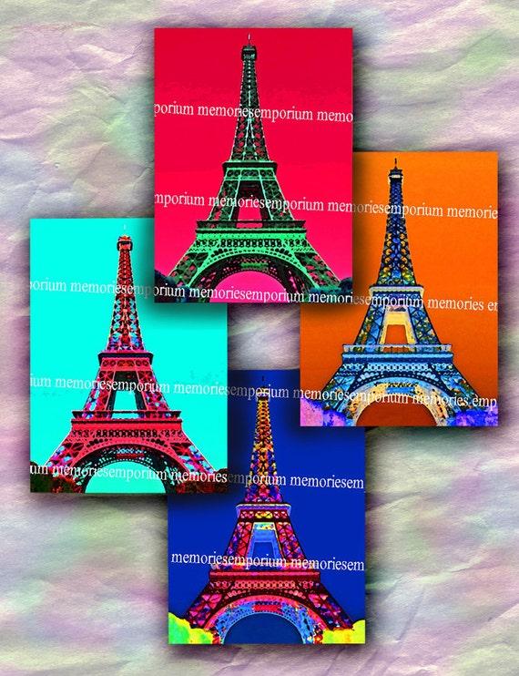 Eiffel Tower Pop Art A La Andy Warhol Style Psychedelic