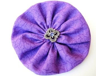 Purple Hair Bow with Jeweled Center