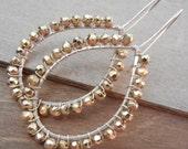 Gold Pyrite Earrings, Sterling Silver Hoop Earrings, Simple Gold Silver Earrings, Wire Wrapped, Fools Gold, Pyrite Earrings