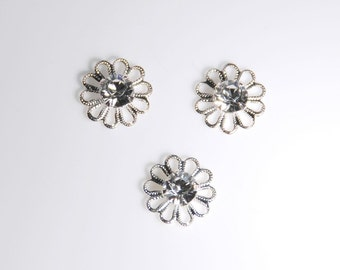Swarovski crystal,  62020 Filigree, 12mm diameter silver plated brass,  in crystal clear color, 3 pieces