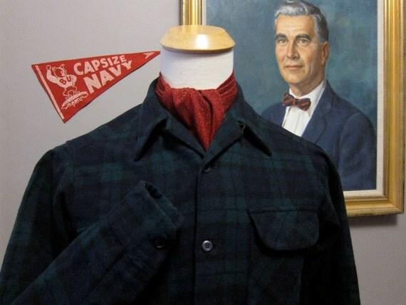 Vintage Pendleton Black Watch Tartan Wool Board Shirt Small 15